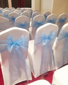 White Lycra Chair Cover & Organza Sash - £1.50