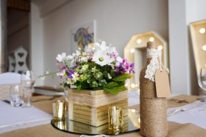Wooden Cube with Artificial Flowers - £15.00