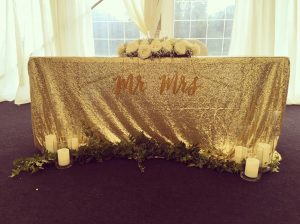 Light Gold Sequin Tablecloth - £10.00